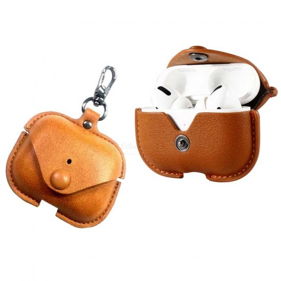 COTEetCI AirPod Pro Magnet Leather PU Case with Hook (Brown)