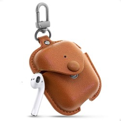 COTEetCI AirPods Magnet Leather PU Case with Hook (Brown)