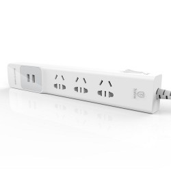 BASEUS Anpin Series Surge Protector Power Strip/Spike Guard with 3 Outlets Dual USB Ports