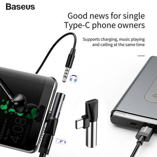 Baseus L41 Type C Male To Type-C Female+3.5mm Jack Adapter Converter
